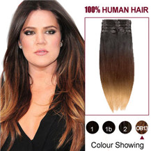 16 inches Three Colors #1b And #30 And #27 Ombre Indian Remy Clip In Hair Extensions