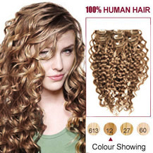16 inches Golden Brown (#12) 7pcs Curly Clip In Indian Remy Hair Extensions