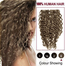 16 inches Light Brown (#6) 7pcs Curly Clip In Indian Remy Hair Extensions