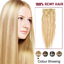 20 inches Blonde Highlight (#18/613) 7pcs Clip In Indian Remy Hair Extensions