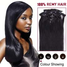 "22"" Jet Black (#1) 7pcs Clip In Indian Remy Hair Extensions"