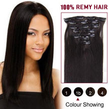 "16"" Natural Black (#1b) 10PCS Straight Clip In Indian Remy Hair Extensions"