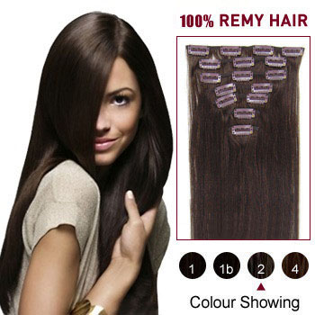 20 inches Dark Brown (#2) 10PCS Straight Clip In Brazilian Remy Hair Extensions