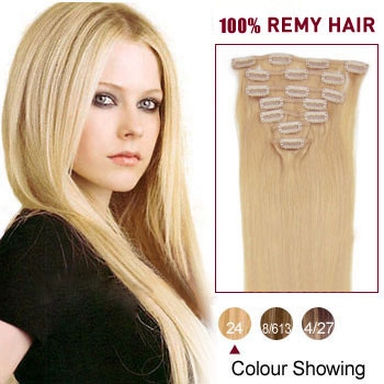 22 inches Ash Blonde (#24) 10PCS Straight Clip In Brazilian Remy Hair Extensions