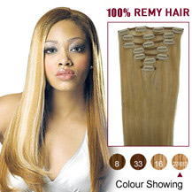 16 inches Blonde Highlight (#27/613) 7pcs Clip In Brazilian Remy Hair Extensions