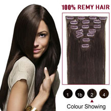 "24"" Dark Brown (#2) 9PCS Straight Clip In Brazilian Remy Hair Extensions"