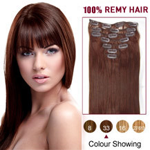 "16"" Dark Auburn (#33) 7pcs Clip In Indian Remy Hair Extensions"