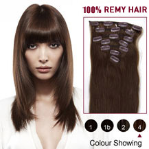 22 inches Medium Brown (#4) 7pcs Clip In Indian Remy Hair Extensions