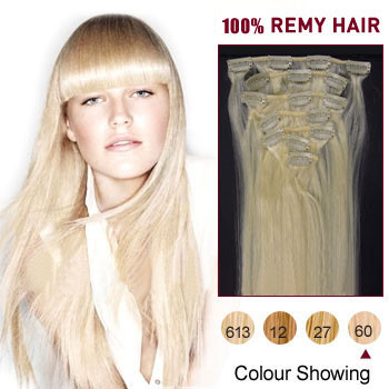 20 inches White Blonde (#60) 9PCS Straight Clip In Indian Remy Hair Extensions