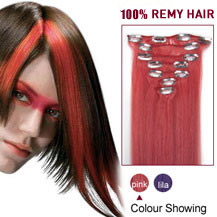 """20"""" Pink 7pcs Clip In Indian Remy Hair Extensions"""