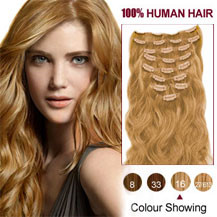 16 inches Golden Blonde (#16) 7pcs Wavy Clip In Indian Remy Hair Extensions