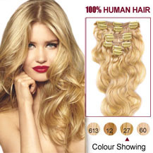 16 inches Strawberry Blonde (#27) 7pcs Wavy Clip In Indian Remy Hair Extensions