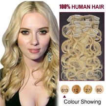 16 inches Bleach Blonde (#613) 7pcs Wavy Clip In Indian Remy Hair Extensions