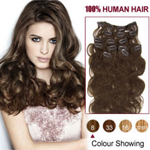 16 inches Ash Brown (#8) 7pcs Wavy Clip In Indian Remy Hair Extensions