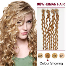 16 inches Golden Brown (#12) 100S Curly Micro Loop Human Hair Extensions