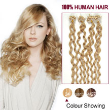 16 inches Ash Blonde (#24) 100S Curly Micro Loop Human Hair Extensions