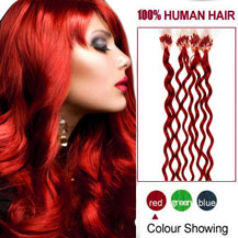 16 inches Red 100S Curly Micro Loop Human Hair Extensions