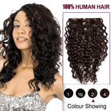 16 inches Dark Brown (#2) 7pcs Curly Clip In Indian Remy Hair Extensions