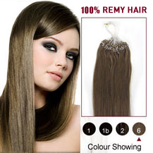 "16"" Light Brown (#6) 100S Micro Loop Human Hair Extensions"