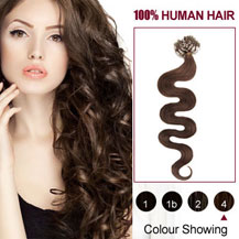 26 inches Medium Brown (#4) 100S Wavy Micro Loop Human Hair Extensions