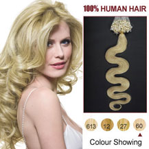 20 inches White Blonde (#60) 100S Wavy Micro Loop Human Hair Extensions