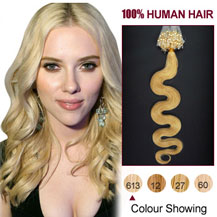 16 inches Bleach Blonde (#613)100S Wavy Micro Loop Human Hair Extensions