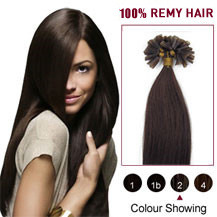 "18"" Dark Brown (#2) 100S Nail Tip Human Hair Extensions"