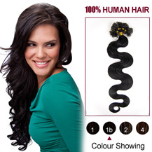 "20"" Natural Black (#1b) 100S Wavy Nail Tip Human Hair Extensions"