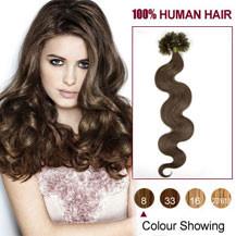 16 inches Ash Brown (#8) 100S Wavy Nail Tip Human Hair Extensions