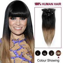 16 inches Two Colors #1b And #14 Straight Ombre Indian Remy Clip In Hair Extensions