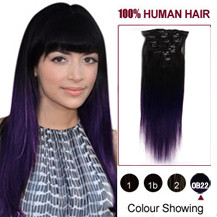 16 inches Two Colors #1b And Lila Straight Ombre Indian Remy Clip In Hair Extensions