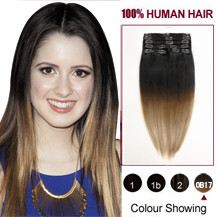 16 inches Two Colors #2 And #14 Straight Ombre Indian Remy Clip In Hair Extensions
