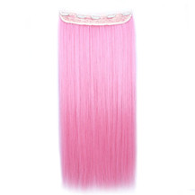 "24"" Ombre Colorful Clip in Hair Straight 5# Pink/Pink 1 Piece"