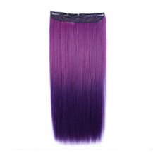 """24"""" Ombre Colorful Clip in Hair Straight 12# Rose/Dark-Purple 1 Piece"""