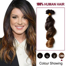 """16"""" Two Colors #2 And #27 Wavy Ombre Indian Remy Clip In Hair Extensions"""