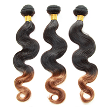 3 set bundle #1B/30 Ombre Body Wave Indian Remy Hair Wefts 10/12/14 Inches