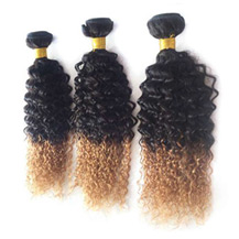 3 set bundle #1B/27 Ombre Curly Indian Remy Hair Wefts 10/12/14 Inches