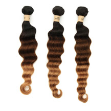 3 set bundle #1B/4/27 Ombre Deep Wave Indian Remy Hair Wefts 10/12/14 Inches