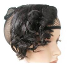 Slightly Curled Wig Bang Black 1 Piece