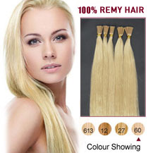 "26"" White Blonde (#60) 100S Stick Tip Human Hair Extensions"