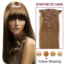 22 inches Golden Brown (#12) 7pcs Clip In Synthetic Hair Extensions