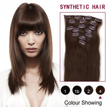 22 inches Medium Brown (#4) 7pcs Clip In Synthetic Hair Extensions