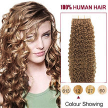 20 inches Golden Brown #12 20pcs Curly Tape In Human Hair Extensions