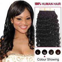 16 inches Natural Black (#1b) 20pcs Curly Tape In Human Hair Extensions