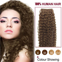 20 inches Ash Brown (#8) 20pcs Curly Tape In Human Hair Extensions
