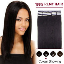 "24"" Natural Black (#1b) 20pcs Tape In Human Hair Extensions"