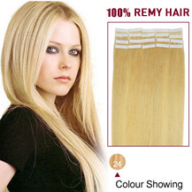 "20"" Ash Blonde (#24) 20pcs Tape In Human Hair Extensions"