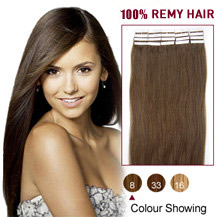 20 inches Ash Brown (#8) 20pcs Tape In Human Hair Extensions