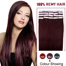 20 inches 99J 20pcs Tape In Human Hair Extensions