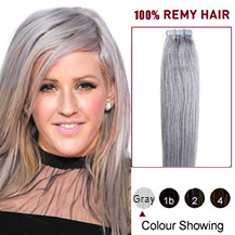 24 inches Gray Tape in Human Hair Extensions